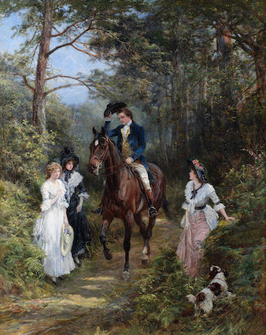 Heywood Hardy (British, 1843-1933) The meeting in the forest