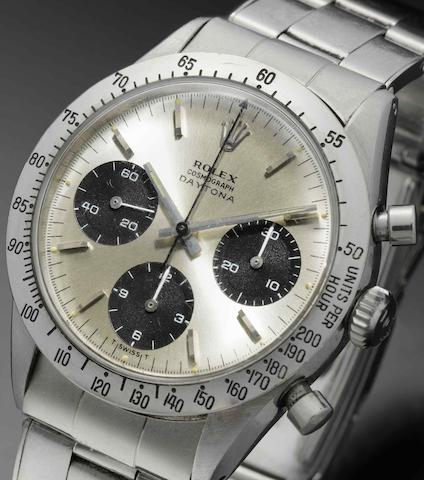 Rolex. A fine stainless steel manual wind chronograph bracelet watch Daytona Cosmograph, Ref:6239, Case No.1658***, Circa 1963