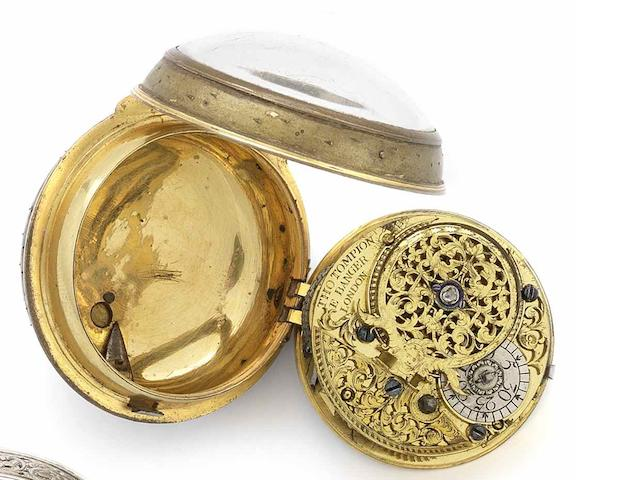 Thomas Tompion and Edward Banger. An early 18th century gilt metal open face pocket watch Numbered 3973, Circa 1708