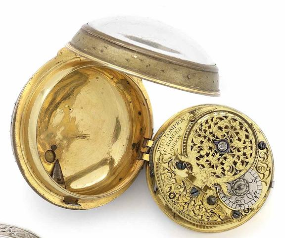 Thomas Tompion and Edward Banger. An early 18th century gilt metal consular case pocket watchNumbered 3973, Circa 1708