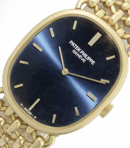 Patek Philippe. An 18ct gold manual wind bracelet watchEllipse, Ref:3848/1, Case No.546398, Movement No.1330896, Circa 1970
