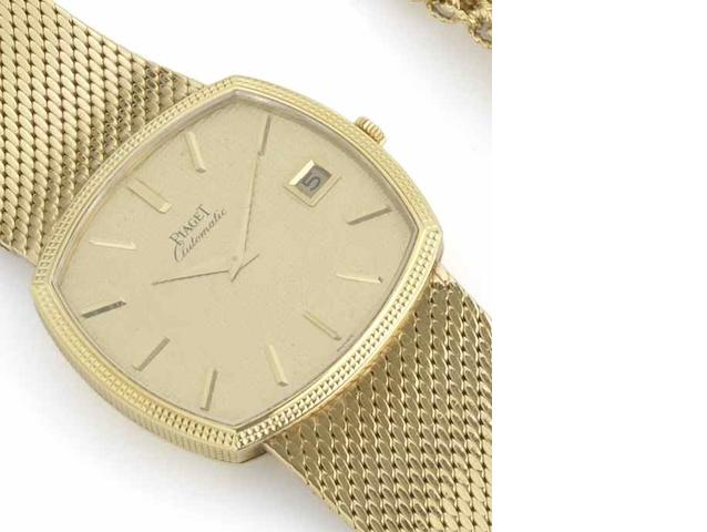 Piaget. An 18ct gold automatic bracelet watch Ref:13401-R1, No.6/4-112820, Retailed by Grassy, Madrid, Sold 5th July 1967
