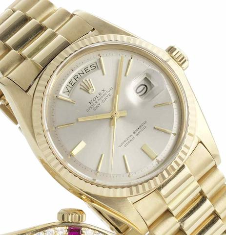 Rolex. An 18ct gold automatic bracelet watch Day-Date, Ref:1803, Serial No.1952***, Sold 10th November 1969