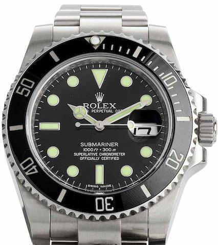 Rolex. A fine stainless steel automatic calendar bracelet watchSubmariner, Ref:116610LN, Serial No.V965***, Sold 13th August 2010