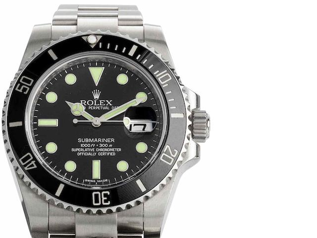 Rolex. A fine stainless steel automatic calendar bracelet watch Submariner, Ref:116610LN, Serial No.V965***, Sold 13th August 2010