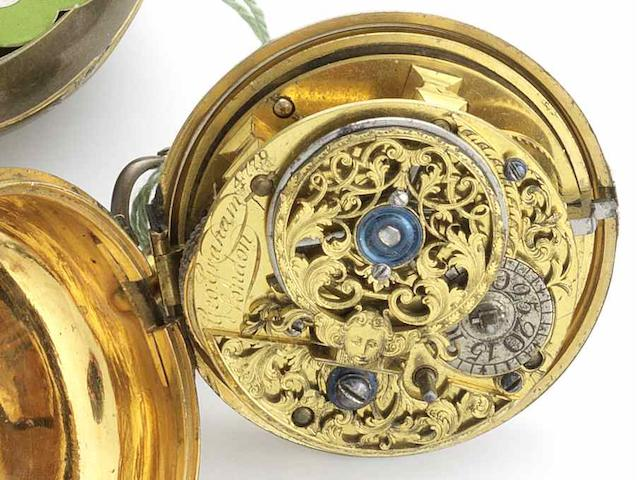 George Graham. A gilt metal pair case verge pocket watch No.4779, Circa 1717/18