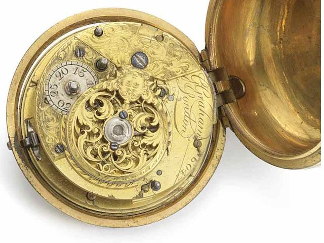 George Graham. A gilt metal pair case cylinder pocket watch No.6047, Circa 1742