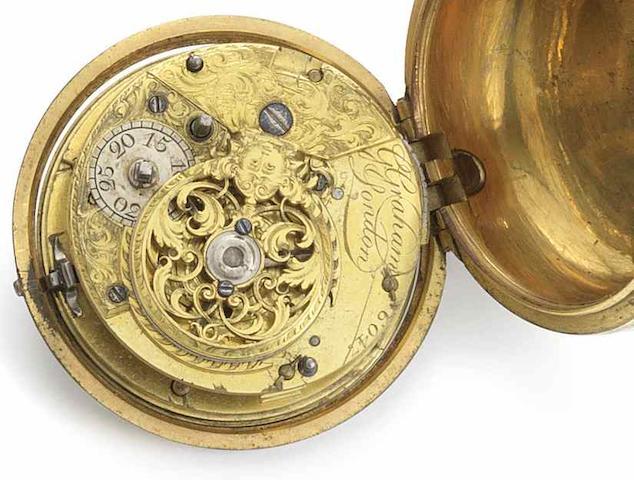 George Graham. A gilt metal pair case cylinder pocket watch No.6047, Circa 1742