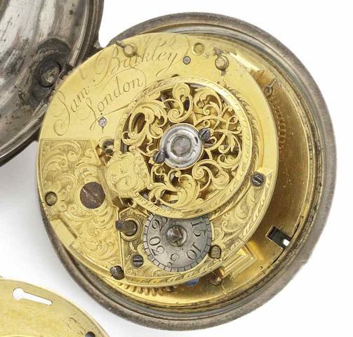 Samuel Barkley. A mid 18th century silver case pocket watch Circa 1750