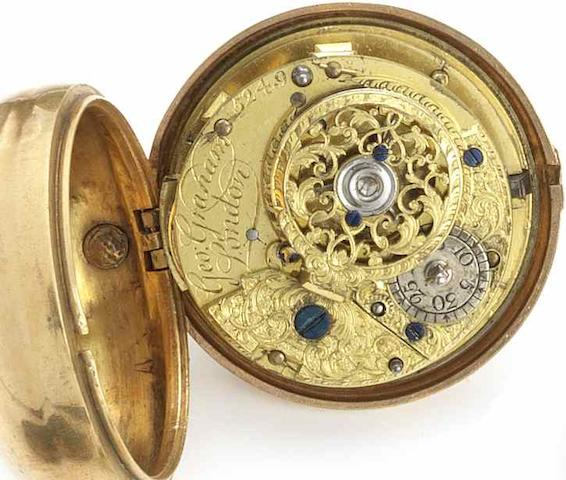 George Graham. A gilt metal pair case pocket watch in shagreen case Numbered 5249, Circa 1727/1728