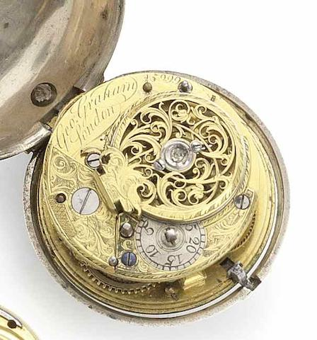 George Graham. An 18th century verge pocket watch in later silver case Movement No.5999, Case with London Hallmark for 1775, Movement Circa 1740/41