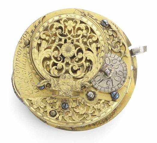 Tompion & Graham. A gilt metal pair case pocket watch with cylinder movement No.4504, Circa 1711/12