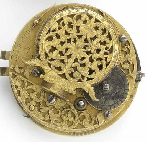 Thomas Tompion. An early 18th century verge pocket watch movementNo.2268, Circa 1696/7