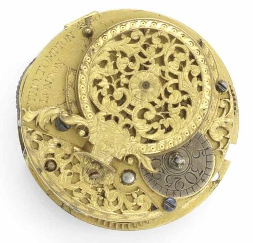 Thomas Tompion. A gilt metal verge pocket watch movement Numbered 4230, Circa 1708