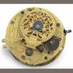 George Graham. An important full plate verge pocket watch movement No.5182, Circa 1726/27