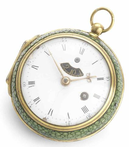Tompion & Graham. A fine and rare early 18th century shagreen cased open face verge pocket watch with blued steel regulation apertureCirca 1712