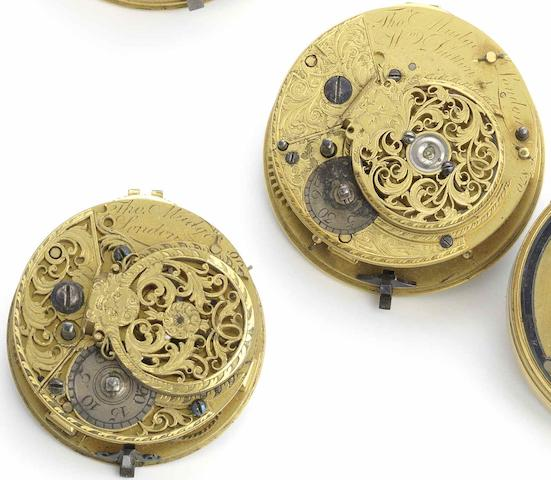 A lot of two pocket watch movements by Thomas Mudge