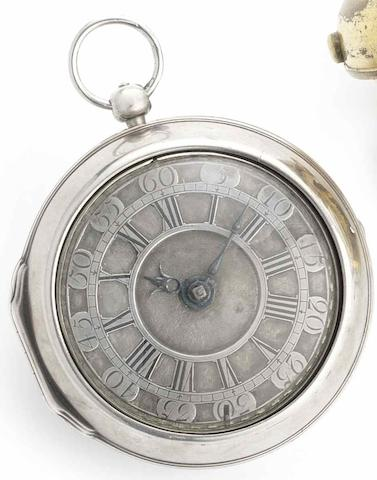 Marc Grangier. An late 17th century silver-gilt pair case pocket watchCirca 1695