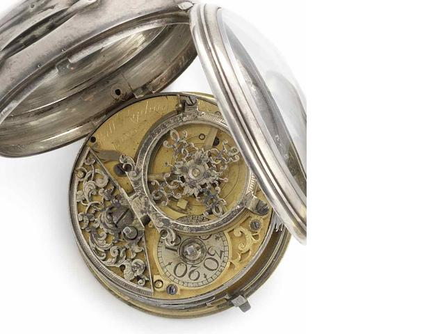William Kipling. A silver open face verge pocket watch in later case Circa 1720