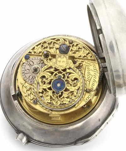 George Graham. A silver pair case pocket watch No.5003, London Hallmark for 1784, Movement dates to 1722