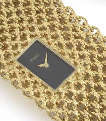 Piaget. A rare and unusual lady's 18ct gold mesh bracelet watchCase No.3879 N38/251980, Circa 1974