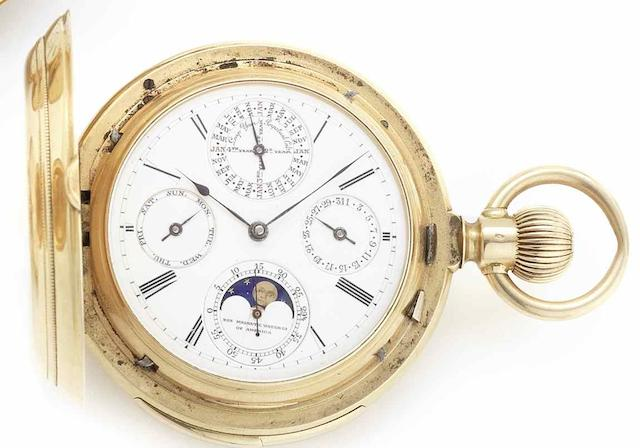 Non Magnetic Watch Company of America. An 18ct gold minute repeating perpetual calendar full hunter pocket watchNumbered 6432, Circa 1895