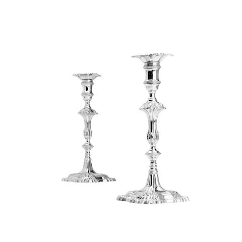 A pair of George III cast silver candlesticks By William Cafe, London 1766