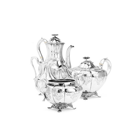 A four piece matched silver Victorian tea service The teapot, hot water pot and cream by Hayne & Cater, the sugar bowl by Thomas Smily, London 1865/68