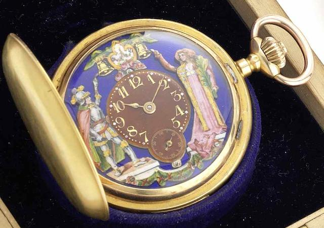 Swiss. A continental gold full hunter quarter repeating Jacquemart pocket watchCirca 1895