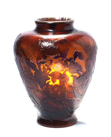Emile Gallé A Good Marquetry and Cameo Glass Vase with Bearded Irises, circa 1900