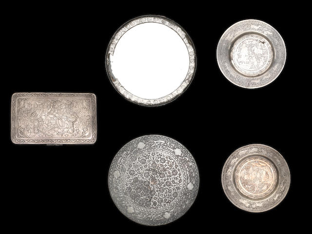 A silvered copper hand mirror, together with a pair of silver dishes and Indian silvered box.