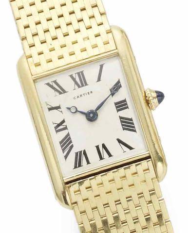 Cartier. A lady's 18ct gold manual wind bracelet watchTank JJC, London Hallmark for 1962