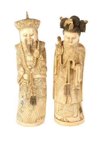 A pair of Chinese ivory figures of an Emperor and Empress