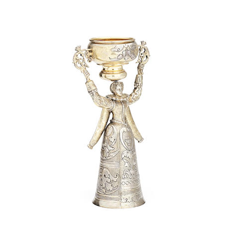 A silver gilt bridal cup Hanau, with import marks for Berthold Muller, London 1905, stamped 925