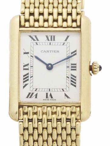 Cartier. An 18ct gold quartz bracelet watch Tank, Circa 1975