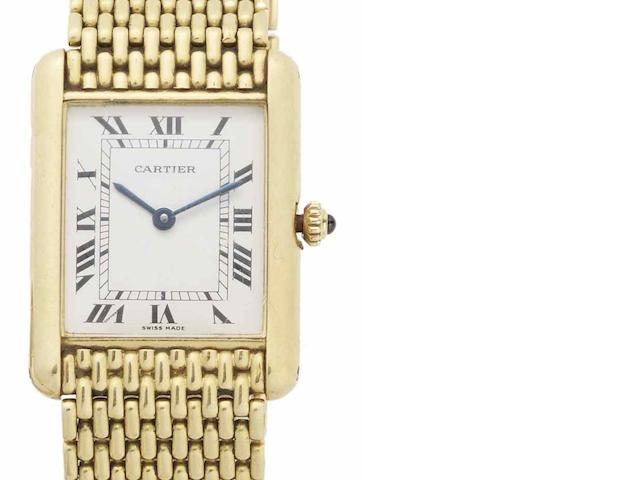 Cartier. An 18ct gold quartz bracelet watch Tank, Circa 1975