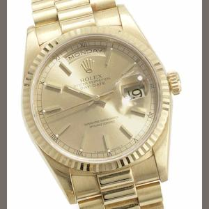 Rolex. An 18ct gold automatic calendar bracelet watch Oyster perpetual Day-Date, Ref:18238, Serial No.W423***, Sold 22nd March 1997