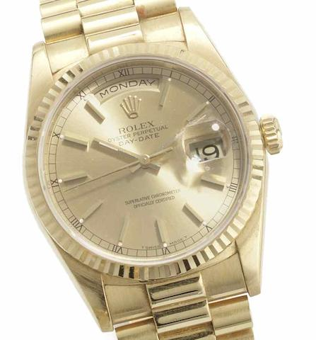 Rolex. An 18ct gold automatic calendar bracelet watchDay-Date, Ref:18238, Serial No.W423***, Sold 22nd March 1997