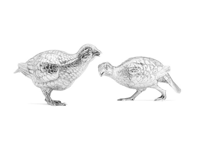 A pair of Silver Grouse By Edward Barnard & Sons Ltd., London 1961