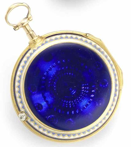 Francis Perigal. A fine 18ct gold open face pair case enamel pocket watchLondon Hallmark for 1786