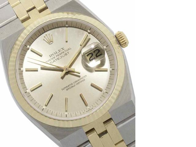 Rolex. A rare stainless steel and gold automatic centre seconds calendar bracelet watch Datejust, Ref:1630, Circa 1977