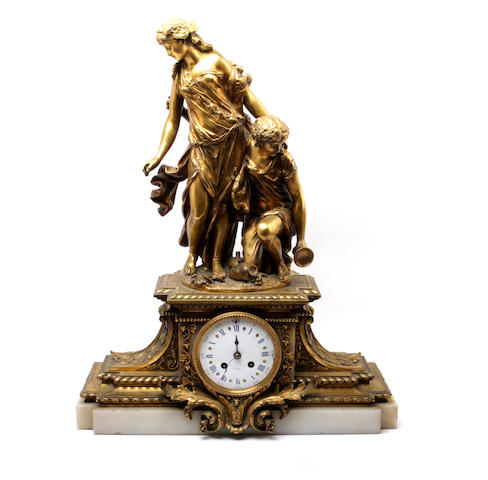 A 19th century French ormolu mantel clock