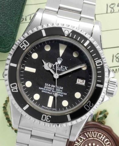 Rolex. A stainless steel automatic calendar bracelet watch Sea Dweller, Ref:1665, Serial No.6545***, Retailed by Boodle & Dunthorne Ltd, Sold 4th August 1983
