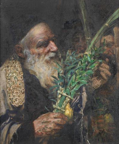 Leopold Pilichowski (Polish, 1869-1934) Examining the Lulav