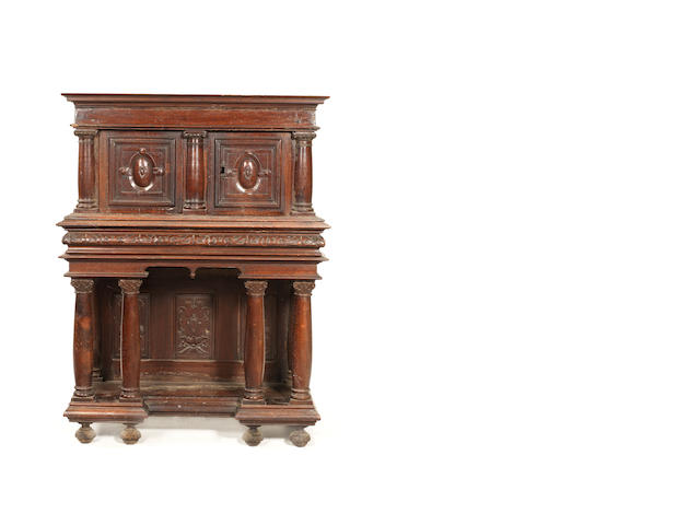 A French 17th century and later walnut cabinet on stand