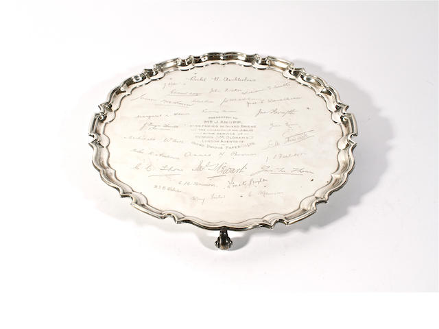 A silver presentation salver Maker's mark 'FC', Sheffield, 1936,