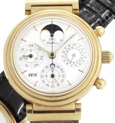 IWC. An 18ct gold automatic chronograph perpetual calendar wristwatch Da Vinci, Case No.2518559, Movement No.2411995, Circa 1990