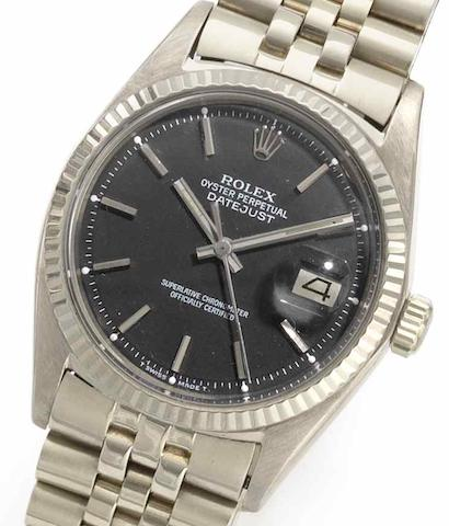 Rolex. An 18ct white gold automatic calendar bracelet watchDatejust, Ref:1601, Serial No.2864***, Circa 1969