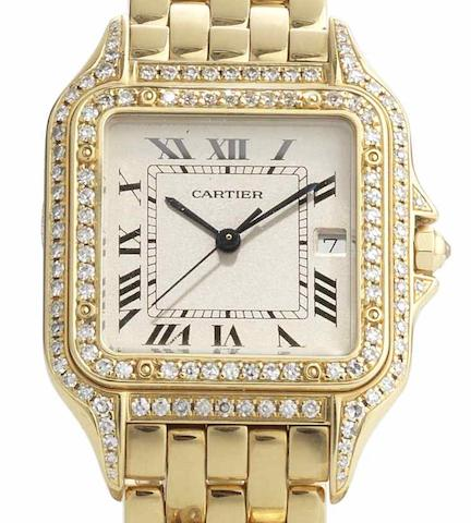 Cartier. A lady's 18ct gold diamond set quartz calendar bracelet watch Panthere, Recent