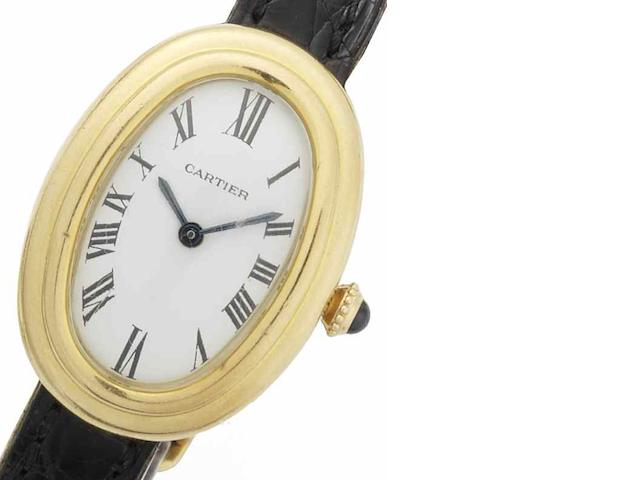 Cartier. An 18ct gold manual wind wristwatch Bagnoire Oval, Circa 1970